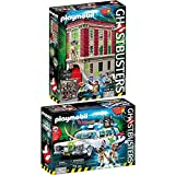 PLAYMOBIL Ghostbusters Set: 9219 Fire Station + 9220 Ecto-1