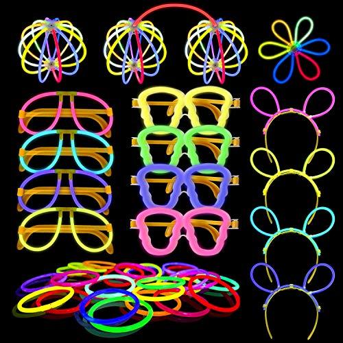 Yodeace Pack de 100 Varitas Luminosas Fiesta, 20cm con 130 Conectores para Pulseras Luminosas, Gafas Luminosas, Diadema, Flores, Bola Luminosa para Fiestas Cumpleaños, Bodas, Halloween y Navidad