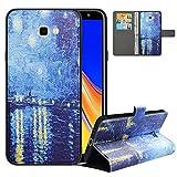 LFDZ Handyhülle für Samsung J4 Plus Hülle,Premium 2in1 PU Ledertasche für J4 Core Hülle,RFID-Blocker Flip Case Tasche Etui Schutzhülle für Samsung Galaxy J4 Plus/J4 Prime/J4 Core[2018],Starry Night