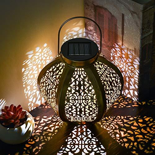 TERESA'S COLLECTIONS Solarlaterne für außen, 29cm Runde Solarlampe für Outdoor Solar Gartendeko Gold Gartenlaterne Wasserdicht LED Solar Laterne