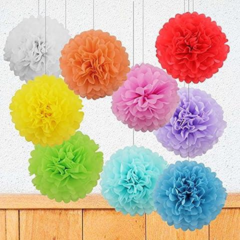 9 PCS Mixte Pompons en Papier de Soie, Boules Fleurs Papier DIY Décoration de Baby Shower Noce Mariage Fête Anniversaire Chamber – Vert/Rouge/Rose/Blanc/Bleu/Bleu Cliar/Jaune/Orange/Voilet - 20cm