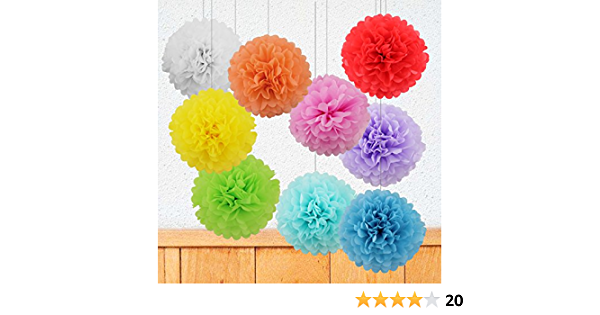 Geburtstag Kentop 5Stk Papier Wabenb/älle Set Pompoms Blume Kit Deko Lampions Seidenpapier Pompons f/ür Hochzeit Party Baby Duschen