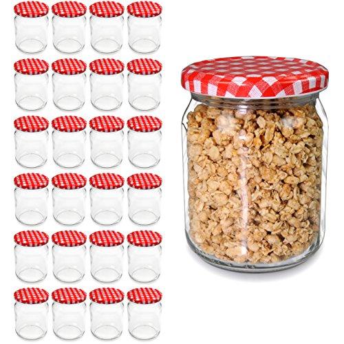 Lot de 24bocaux avec couvercles à visser, petits bocaux 540ml, Pots de confiture, bocaux en verre Top Qualité, marque youzings