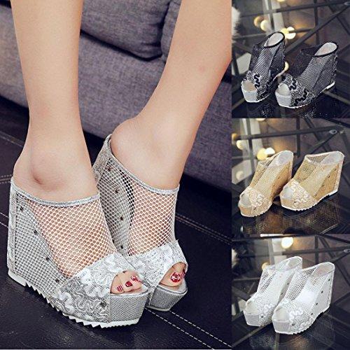 Transer® Damen Sandalen Blockabsatz Metall Halbtransparent Mesh+Gummi Schwarz Gold Silber Sandalen (Bitte achten Sie auf die Größentabelle. Bitte eine Nummer größer bestellen) Silber