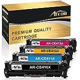Arcon kompatibel HP CE410X CE410A 305X 305A CE411A CE412A CE413A Toner, für HP LaserJet Pro Color M351a MFP M375nw M451 M451DN M451DW M451NW M475DN M475DW Schwarz je 4.000 Seiten Color je 2.600 Seiten