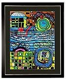 Poster Kunstdruck / Bild Hundertwasser die vier Einsamkeiten mit Rahmen 102x82 cm ++ SALE ++