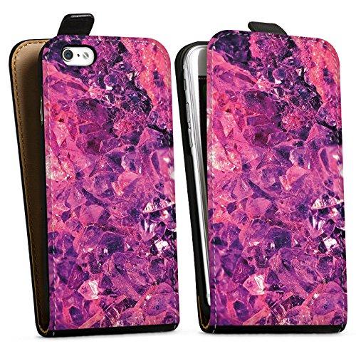 Apple iPhone X Silikon Hülle Case Schutzhülle Kristall lila Muster Edel Downflip Tasche schwarz