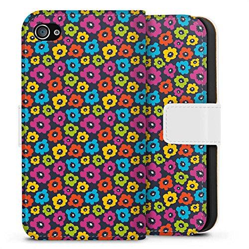 Apple iPhone X Silikon Hülle Case Schutzhülle Blumen Muster Bunt Sideflip Tasche weiß