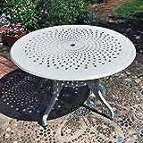 Aluminium Gartenmöbel Amy 120cm Runde Gartensitzgruppe Weiß - 1 Weißer AMY Tisch + 4 Weiße MARIA Stühle