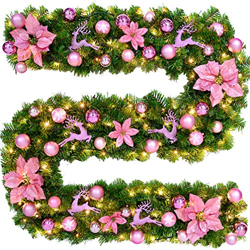 Ghirlande natale rattan crittografia 2.7 m decorazioni natalizie rosa palline natalizie porta ghirlanda albero di natale appendere rosa