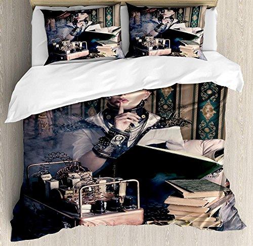 Gothic 3-teiliges Bettwäscheset Bettbezug-Set, Portrait einer Steampunk-Frau mit mittelalterlichem Vintage-Outfit Historisches Kunstfoto, 3-teiliges Tröster- / Qulitbezug-Set mit 2 Kissenbezügen, Brow