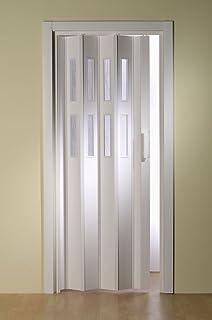Kunststoff-Faltt/ür Luci Fb eichefarben hell B 88,5 x H 202 cm mit 3 Fensterreihen