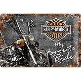 Nostalgic Art Harley Davidson Favourite Ride - Placa decorativa, metal, 20 x 30 cm, color azul y gris