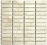 Mosaik Fliese Keramik Stäbchen Steinoptik hellbeige für BODEN WAND BAD WC DUSCHE KÜCHE FLIESENSPIEGEL THEKENVERKLEIDUNG BADEWANNENVERKLEIDUNG Mosaikmatte Mosaikplatte