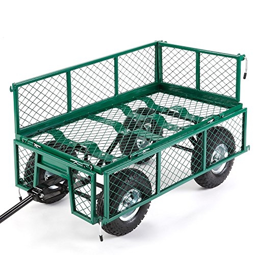 VonHaus Garden Trolley / Cart – 350kg Load Capacity Heavy Duty, All-Terrain Ideal for Camping & Festivals – With Steering & Fold Down Sides and Off-Road Tyres