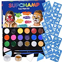 Supchamp Face Paint Kit for Kids, 16 Colour Non-Toxic Face Painting Palette with 60 Stencils, Makeup Kit Safe for Child, Face Paint Set for Halloween Christmas
