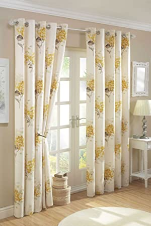 YELLOW GOLD & CREAM LINED CURTAINS WITH EYELET RING TOPS (46 x 72 ...