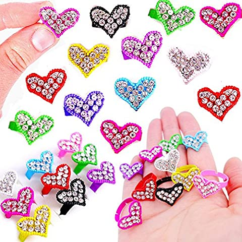 German Trendseller® - 6 x anneaux en forme de coeur avec fines pierres┃en optique de diamants ┃l'anniversaire d'enfants┃ petit cadeau
