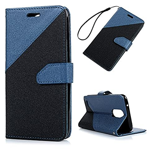 K10 Leather Case KASOS LG K10 2017 Case Blending Leather Style 2 Colour Combined Anterior Closure[Flip Wallet Leather Case]Hand Strap Nylon PU Rope Purse Cover Notebook Design Cash&Card Slots Change Pouch Hybrid PU Leather&TPU Bumper Shell Magnetic Lock Kickstand Cradle Cover Black+ Blue