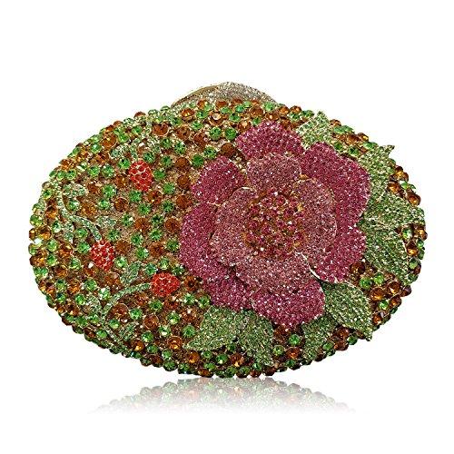 Donne Borse sera di lusso fiore Strass Portafogli donna bellezza preferito borsetta party di nozze portamonete frizione telaio metallico E