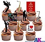 Keep Calm and Play, Sax, Saxophon und Saxophon Player Silhouette Party Pack – essbar Stand-up Cupcake Topper (36 Stück)