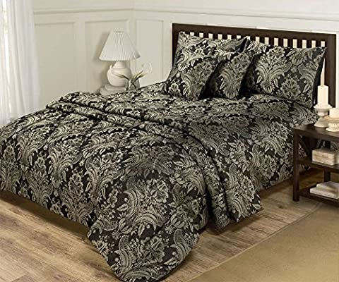 DOUBLE DUVET SET MATCHING THROW & CUSHION COVERS - 6 PIECE JACQUARD BLACK & GOLD BED SET
