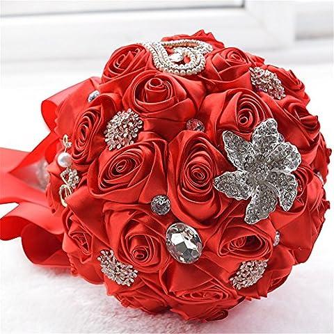 Luxious boda flores artificiales ramo de cristal con corazón de diamantes estilo Pearl cadena con broche de rosa de seda