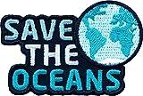2 x Abzeichen gestickt 59 x 39 mm / Save the Oceans / Schutz von Ozean Meer Weltmeer Klima Erde Planet / hochwertige Applikation Aufnäher Aufbügler Flicken Sticker Bügelbild Patch für Kleidung Tasche