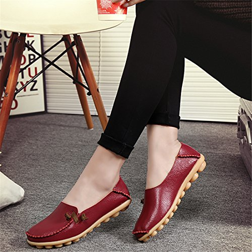 Auspicious beginning Mesdames en Cuir Mocassins Mode Mocassins Appartements Chaussures Vin rouge