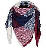 XXL bufanda invierno bufanda Karo–Manta–Cuadros doble–150cm x 150cm M1 Dunkelblau/Bordeaux/Creme