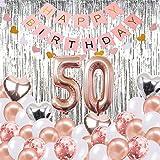 Palloncino per Banner Decorazioni per Compleanno 50 °, Banner per Buon Compleanno, Palloncini per Numero 50 in Oro Rosa, Palloncini per Compleanno Numero 50, Forniture per Compleanno di 50 Anni