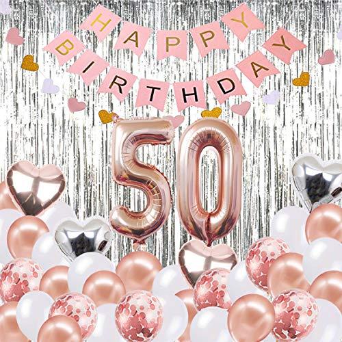 Globos Decorativos para cumpleaños de 50 años, Banner de Feliz cumpleaños, Globos número 50 de Oro Rosa, Número 50 Globos de cumpleaños, Suministros de decoración para cumpleaños de 50 años