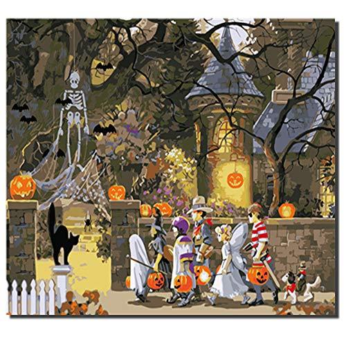 n Halloween Farbe nach Zahlen Ölgemälde auf Leinwand für Inneneinrichtungen ()