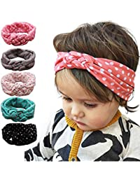 Yistu 5PCS Nueva moda punto cruz niños tejido Twist diadema bebé accesorios para el cabello