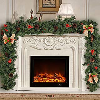 1.8m Green Christmas Garlands Decorations with Berries Pine Cones Bows PVC Artificial Wreath Fireplace Stair Xmas Tree Decors (6ft)