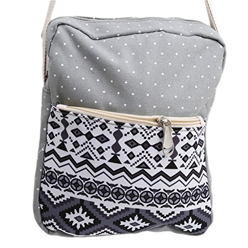 Lalang Mode Umhängetasche Beutel Schulter Beutel Segeltuch Handtasche (Rot) Grau