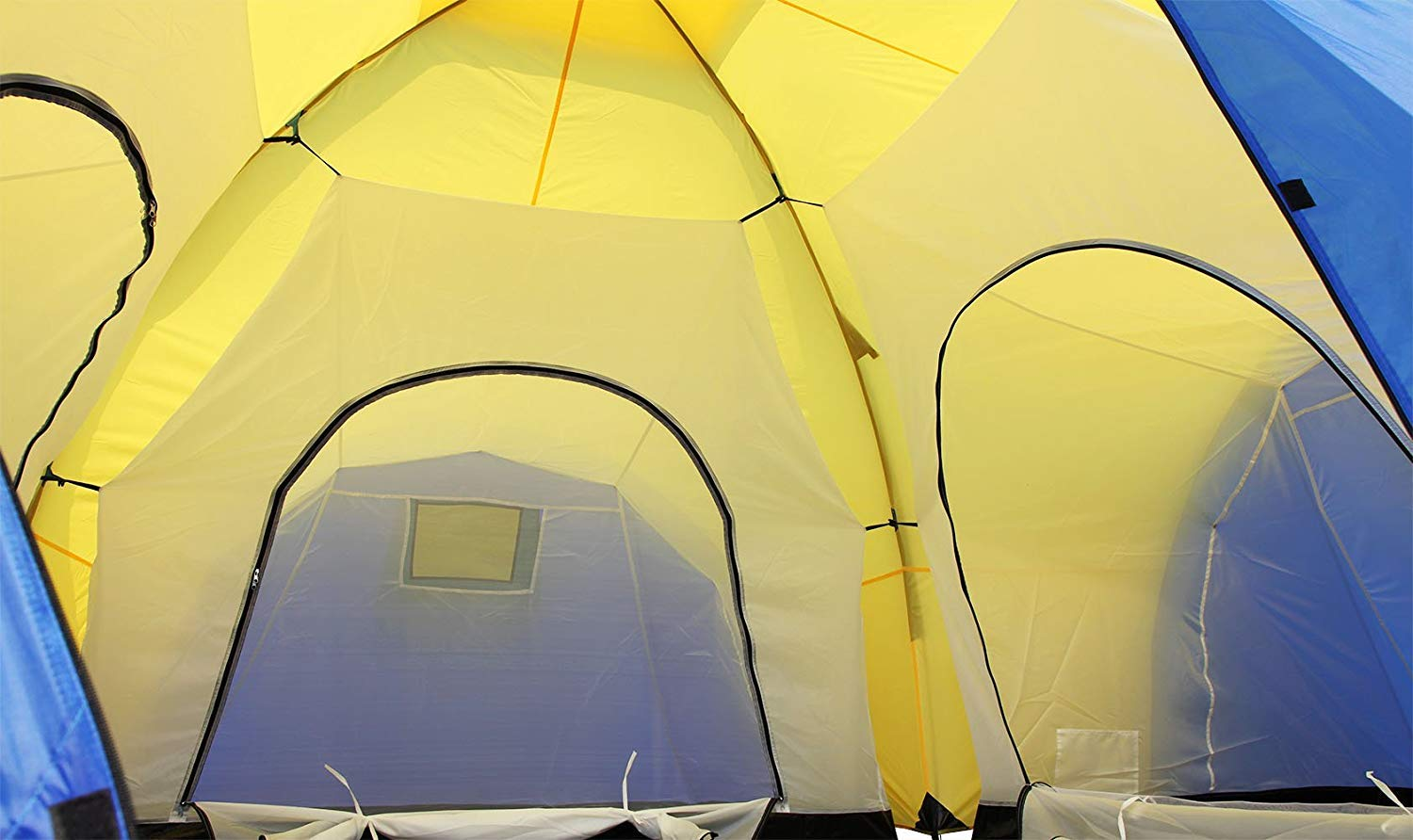 Peaktop 3 Bedrooms 1 Large Living Room 8 Persons Camping Tent Family Group Double Poles Hiking Beach Outdoor Tunnel Dome 3000mm Waterproof &UV Coated Bright Color 1 Year Warranty (5 Shapes) 7