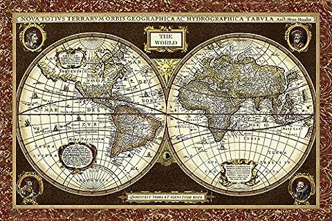 Artland Poster oder Leinwand-Bild fertig aufgespannt auf Keilrahmen mit Motiv Vision Studio Weltkarte Landschaften Landkarten Graphische Kunst