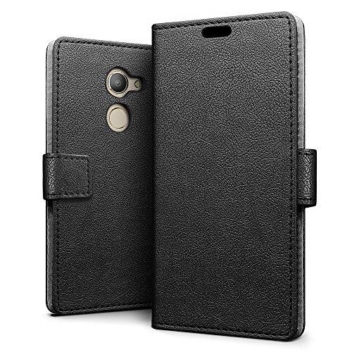SLEO Vodafone Smart N8 Hülle - Premium Luxuriös PU lederhülle [Vollständigen Schutz] [Kreditkartenfach] Flip Brieftasche Schutzhülle im Bookstyle für Vodafone Smart N8 - Schwarz