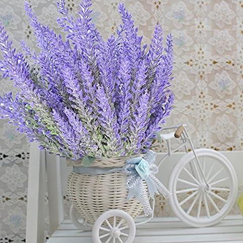8 Bundles Lavender Bouquet, SUMERSHA Purple Artificial Flower for Home Decor and Wedding Decorations
