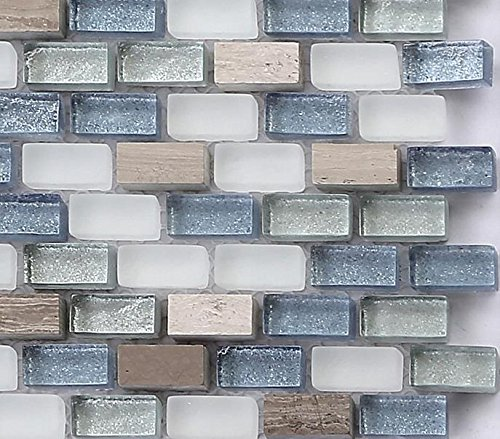 White, Blue and Silver Glass & Natural Stone Brick Shape Mosaic Tiles Sheet (MT0125) (Sample)
