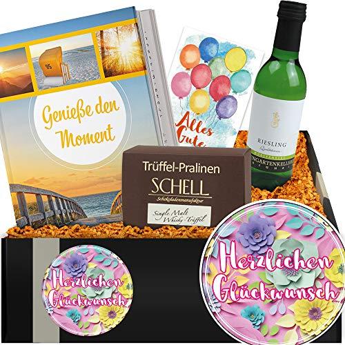 Herzlichen Glückwunsch | Weinset + Schokolade | Geburtstagsgeschenk für Mann