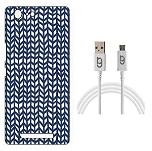 Designer Hard Back Case for Gionee Marathon M5 with 1.5m Micro USB Cable