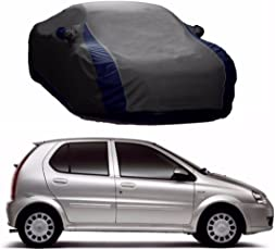 MotRoX Lively Water Resistant Car Body Cover for Tata Indica (Grey & Blue - V Shape)