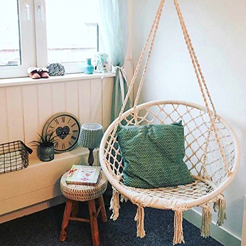 Sedia sospesa esterno, essort amaca, macrame cotone corda appesa amaca sedia per esterni, a casa, giardino, bar, capacità fino a 120kg, 60x 80x 120cm, beige