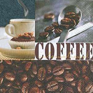 60 Serviettes en papier Coffee Spirit 25 x 25 cm 3 plis, Cocktail Serviettes