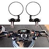 """Ronds Moto Miroirs 7/8"""" Guidon Rétroviseurs Latéraux pour Chopper Cruiser Scooters(#2-Noir)"""