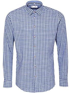 Gweih & Silk Trachtenhemd Body Fit Hallstättersee in Blau