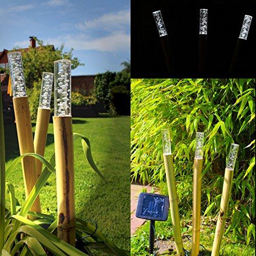 Solarlampe 3er Set Bambus Solarleuchte ca. 50cm