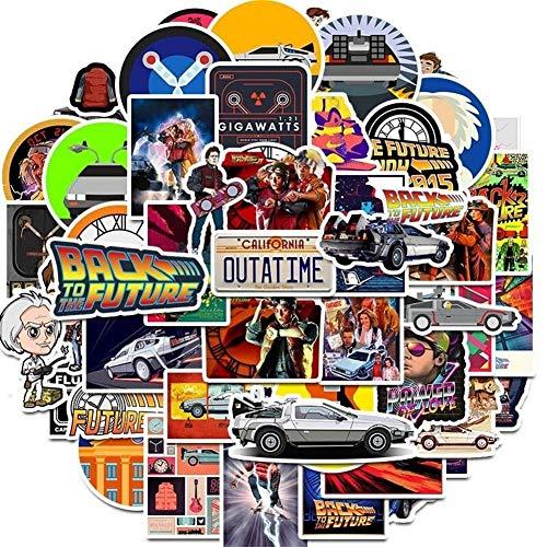 Scokmmer Aufkleber 50Pcs Film Zurück in die Zukunft-Aufkleber-Satz for auf dem Laptop Kühlschrank Telefon Skateboard Reise-Koffer-Aufkleber (Color : Back to The Future)